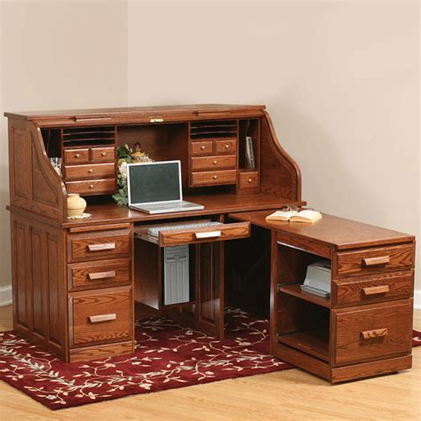 desk with roll out extension roll top desk with pull out amish desk