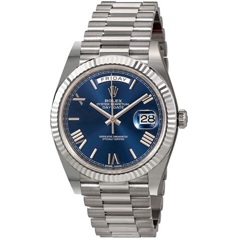 s day date rolex day date 40 blue 18k white gold president