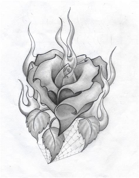 heart rose tattoos and roses drawings and