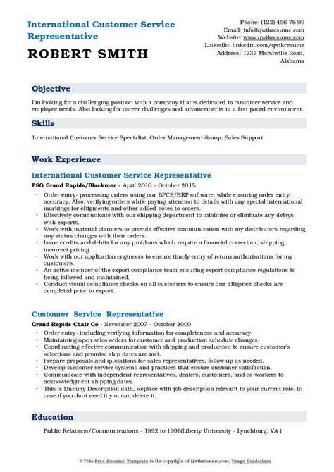 international customer service representative resume