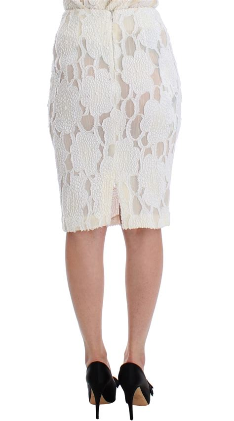 white silk knee length pencil skirt designer