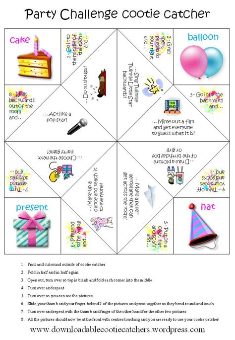 party challenge cootie catcher downloadable cootie catchers