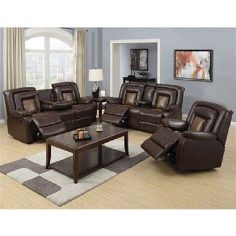 Two Tone Living Room Furniture Two Tone Brown Reclining Sofa Loveseat Chair 3pc Set Living Room Furniture Capson