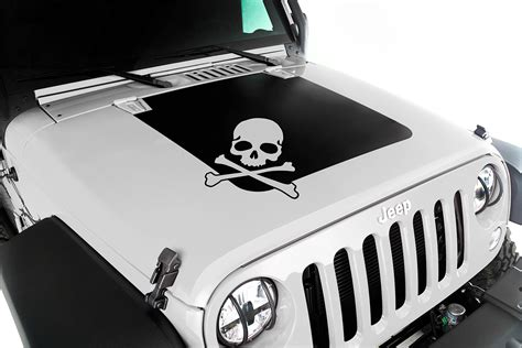 jeep hood stickers rugged ridge 12300 13 hood decal black skull 07 16 jeep