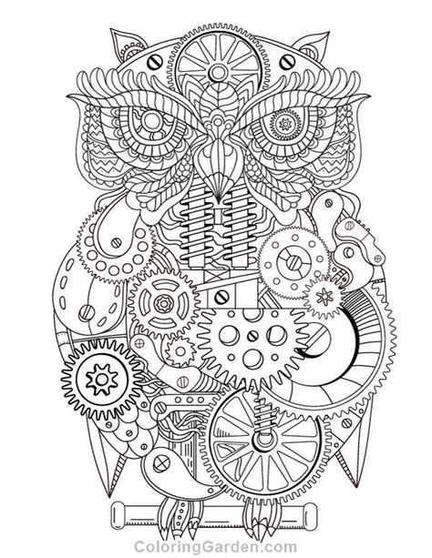 printable steampunk owl adult coloring page