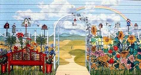 country garden garage door mural  backyard  home