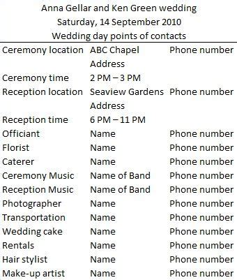 day of wedding timeline template wedding day vendor contact list when it s my time