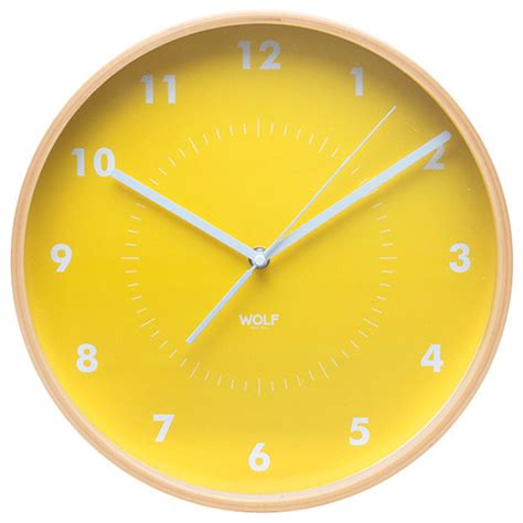 Home Decor Plants Living Room Wall Clock Yellow Modern Wall Clocks By Wolf