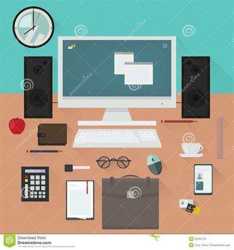 Office Desk Vector Office Desk With Work Essentials Vector Design Stock