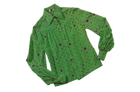 Lime Green Polka Dot Blouse by A Valentino Lime Green Silk Blouse With Various Shades Of
