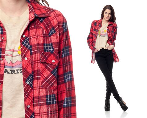 blue and red plaid flannel shirt for women red flannel shirt 90s pearl snap plaid navy blue lumberjack