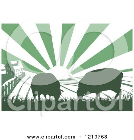 clipart of a sunrise over a green silhouetted farm house