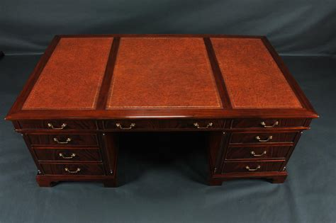 Office Desk Leather Top Oversized Mahogany Leather Top Partners Office Desk Ebay