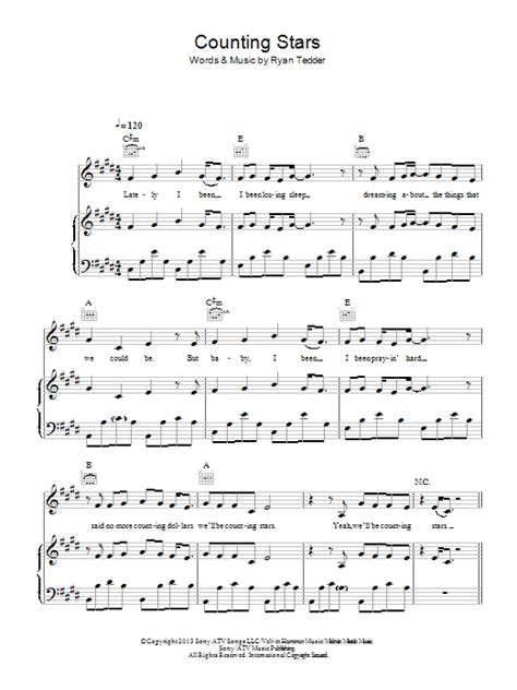 tutorial piano counting stars counting stars sheet music direct