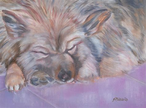 Richards Sleeps With Dogs by Sleepy Painting By Sherri Richards