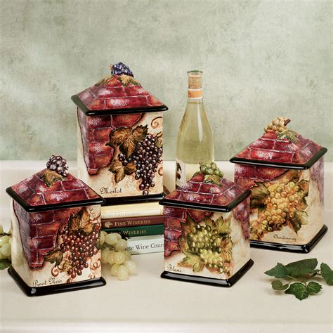 grape kitchen canisters wine theme grape and wine kitchens decor canisters sets