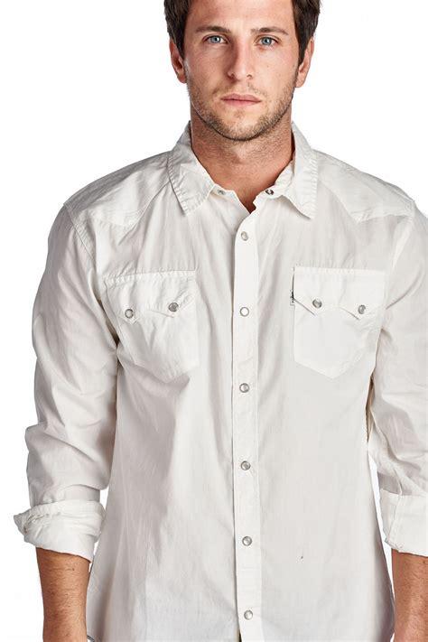 Original Gq Mens Casual Sleeve Kemeja Shirt White Purple 4zrvid levi s s casual 2 pocket sleeve snap button dress shirt in white