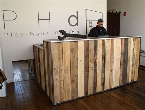 hotel front desk near me reclaimed pallet wood desk with a steel top and steel