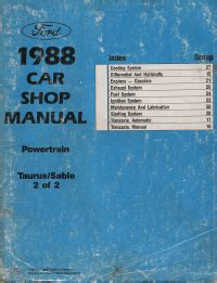 service manuals schematics 1988 mercury sable navigation system 1988 car shop manual powertrain taurus sable volume 2 of 2