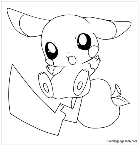 baby pikachu coloring page free coloring pages