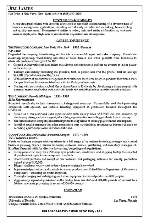Vp Resume Sles by Vice President Of Sales Resume Exle