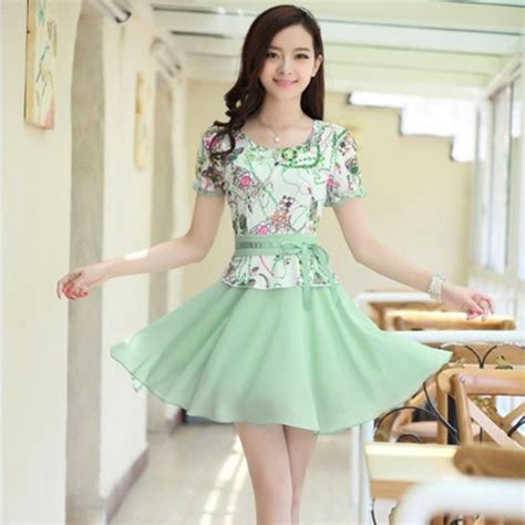 2015 new korean s summer code printing base sleeved chiffon dress lace in dresses