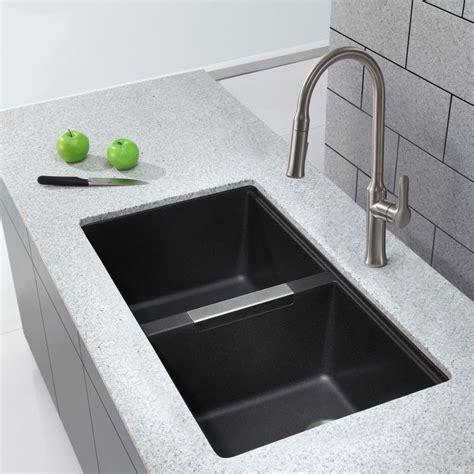 black undermount kitchen sink faucet com kgu 434b in black onyx by kraus