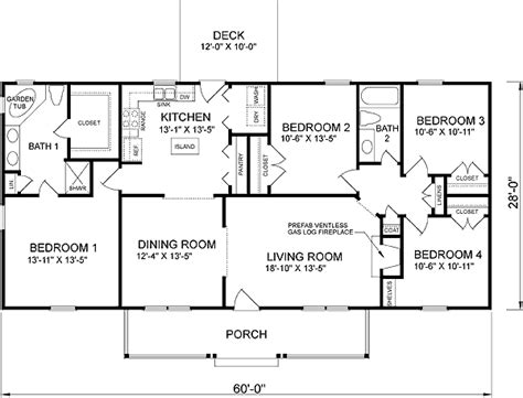 ranch home floor plans 4 bedroom house plan 45467 at familyhomeplans com