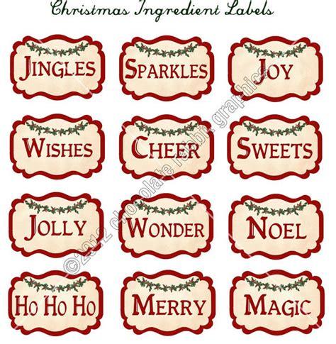 printable sheet of christmas tags vintage christmas ingredient labels digital download collage