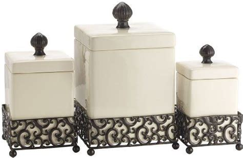 Kitchen Canisters With Metal Base by Set Of 3 Attractive Ceramic Canisters In A Metal Base By
