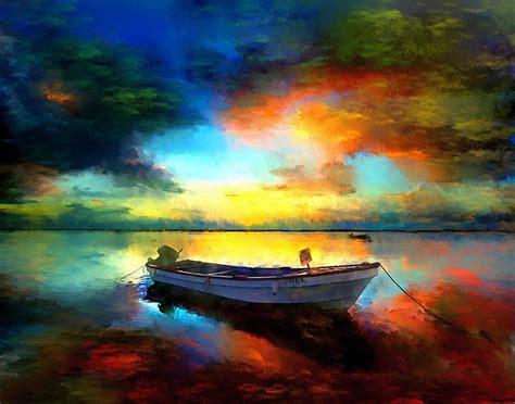 Boat Home Decor by Sunset Boat Landscape Artwork Painting Painting By Andres