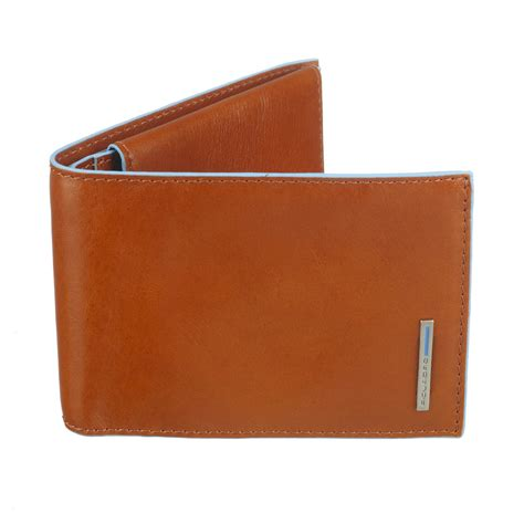 Burnt Orange Leather by Piquadro Leather Billfold Wallet With Coin Purse Burnt