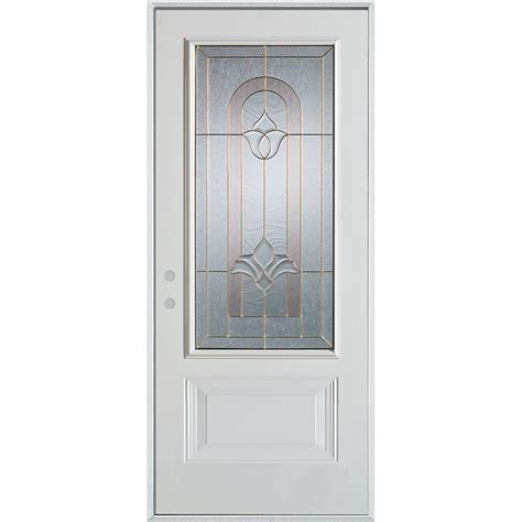 Stanley Exterior Door Stanley Doors 36 In X 80 In Traditional Brass 3 4 Lite 1 Panel Prefinished White Right