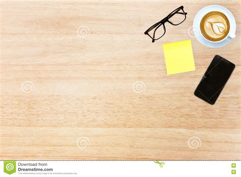 Dezka Top top view desk top with office items image design header with cop stock photo image 70479896