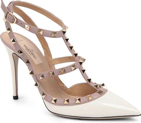 studded shoes valentino studded court shoes in white comb lyst
