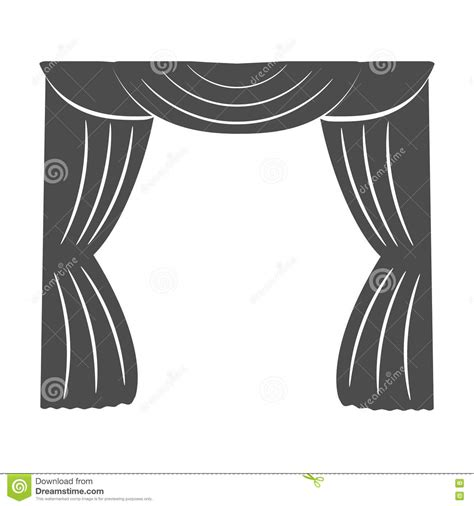 drapes and silhouettes curtains on a white background silhouette vector stock