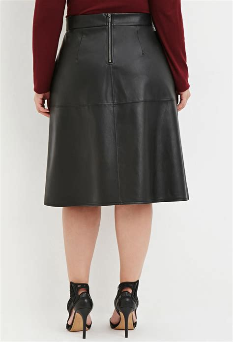 plus size skirts plus size midi maxi skirts lane bryant forever 21 plus size faux leather midi skirt in black lyst