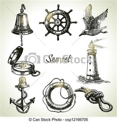 Vector Clipart of Sea set of nautical design elements