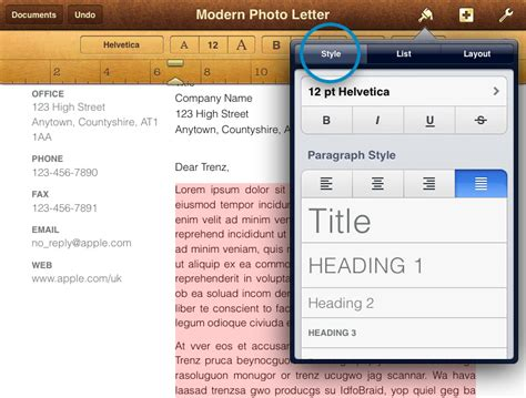 format video on ipad align and format paragraphs using pages for ipad and iphone