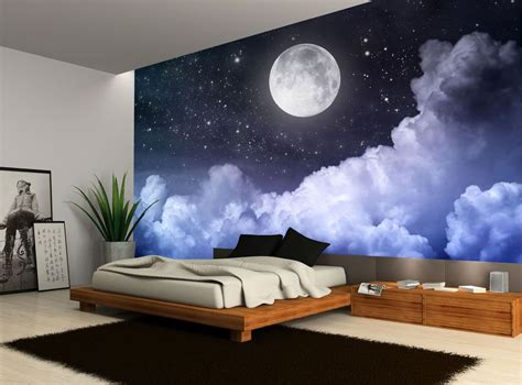 details  night sky moon clouds dark stars wall mural