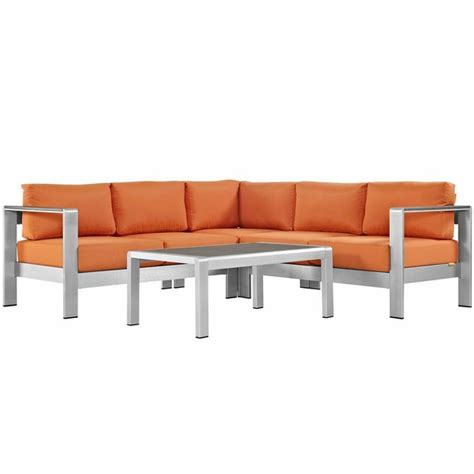 shore 4 outdoor patio aluminum sectional sofa set