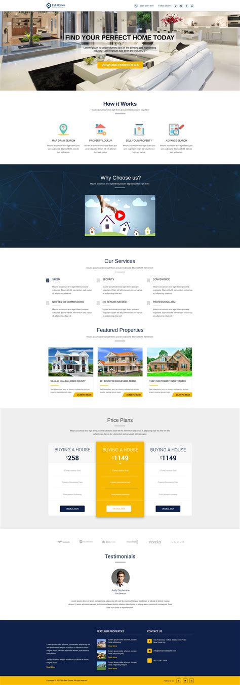 mobile responsive design template real estate landing page design templates for real estate