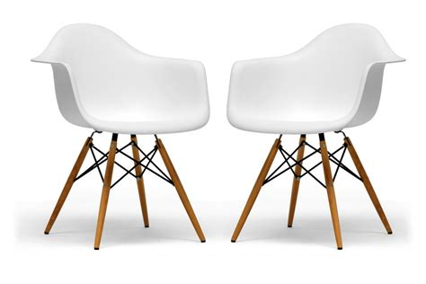 Kursi Eames pascal white molded plastic chair with brown wood legs chicago furniture