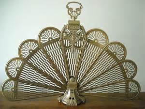 brass fireplace screen ornate peacock fan folding screen with