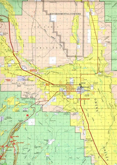 bishop california map bishop california forest and owens valley map