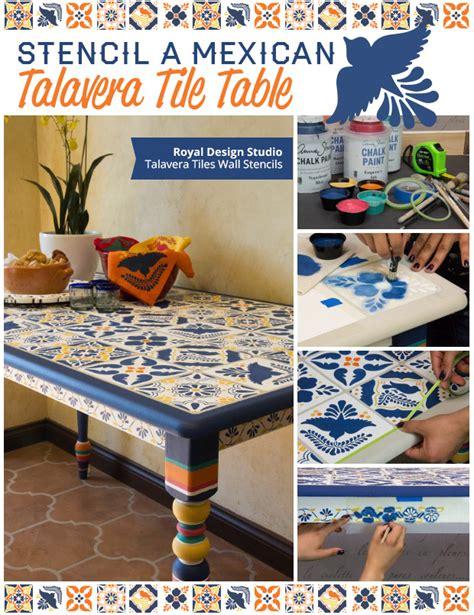 Cheap Diy Kitchen Backsplash stencil a mexican talavera tile table paint pattern