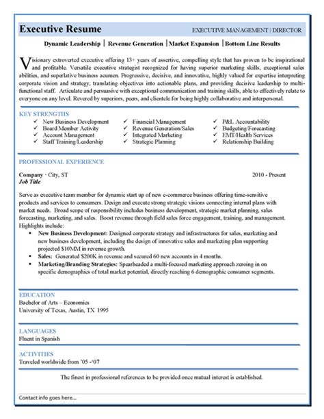 Executive Resume Templates Word by Executive Resume Template Information
