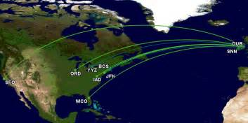 Aer Lingus Route Map by Aer Lingus Trans Atlantic 17 March 2016 Featured Map