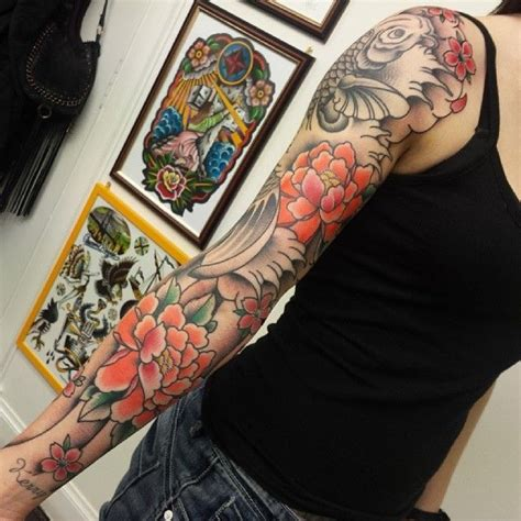 tattoo prices fife peony s cherry blossoms and koi fish sleeve done by mikee
