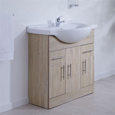 Bathroom Basin Furniture Classic Oak 750mm Vanity Unit